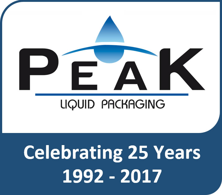 peak liquid packaging celebrating 25 years logo