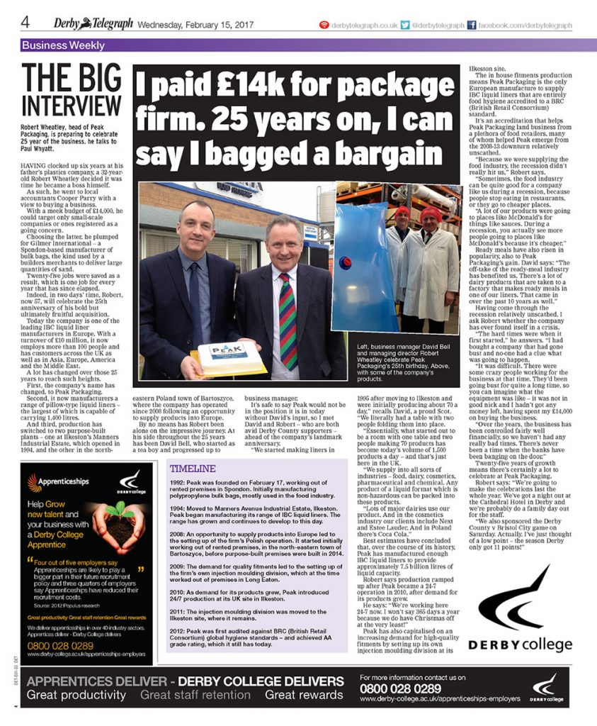 derby telegraph article on peak liquid packaging